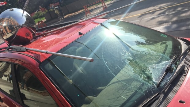 Over the weekend, one of the legs of the satellite was broken off the Sputnik Returned 2 art installation. The windshield was also smashed.