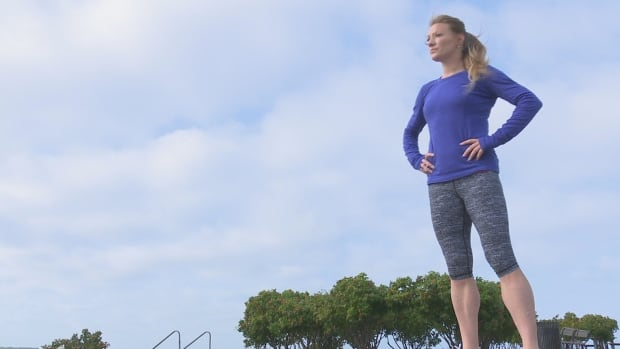 Heather Moyse works out on the boardwalk in her hometown of Summerside, P.E.I.