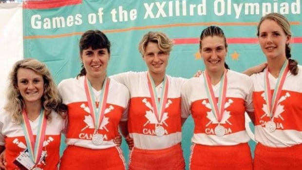 Angela Schneider (middle), who's a Kinesiology professor at Western University, rowed for Canada's women's team in the mid 1980s.