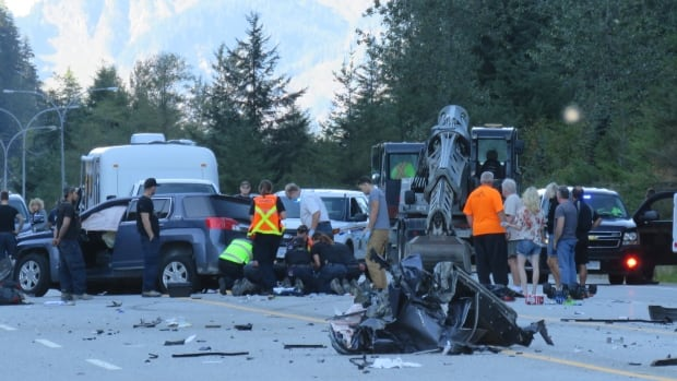 A female passenger was killed when an SUV crashed into a highway maintenance vehicle on Highway 3 east of Hope on Monday.