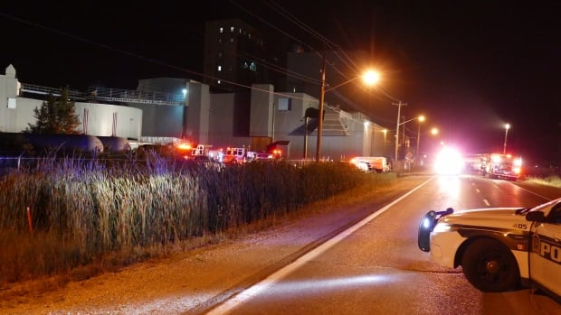 Several fire trucks responded to the Malteurop Canada Ltd. plant at 3001 Dugald Rd around 8:30 p.m. Sept. 12.
