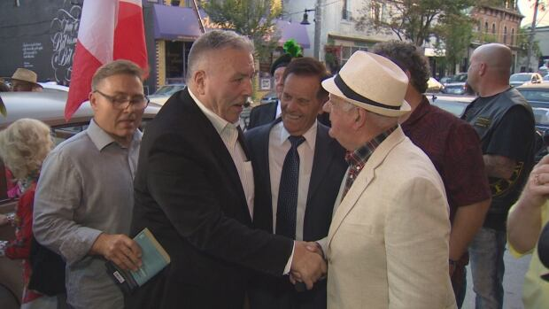 George Chuvalo arrives at his birthday party