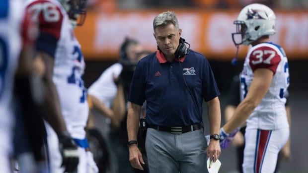 Montreal Alouettes head coach Jacques Chapdelaine is seen on the sideline during a 41-18 loss to the B.C. Lions on Sept. 8.