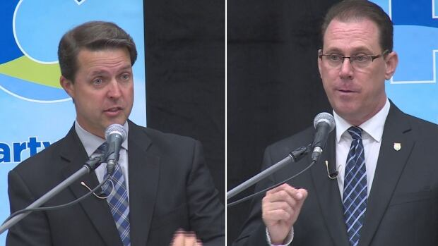 Brad Trivers, left, and James Aylward agreed on most issues at Tuesday night's PC debate.