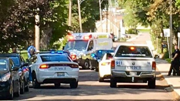 Police vehicles and an ambulance at the scene on Upper Prince Street around 2 p.m. Tuesday.