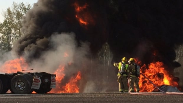 A fuel tanker burns on the Trans-Canada Highway east of Richer, Man., about 60 kilometres east of Winnipeg.