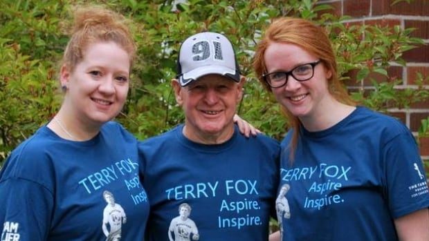 Alex Hillier with his granddaughters, who joined him for last year's Terry Fox Run.