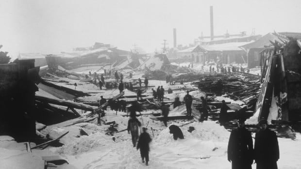 The aftermath of the 1917 Halifax Explosion is shown in a file photo.