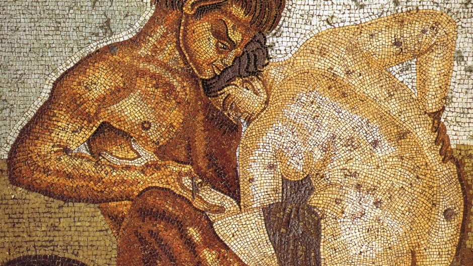 Satyr and nymph. Roman mosaic from the cubiculum in the Casa del Fauno in Pompeii.