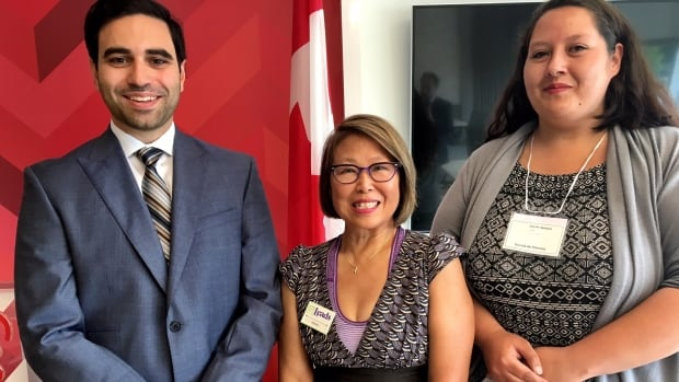 From left to right: Liberal MP for London North Centre Peter Fragiskatos, Leads Employment Services CEO Wendy Lau and Sarah Verdon, a youth client at Leads who has successfully landed a full-time job.