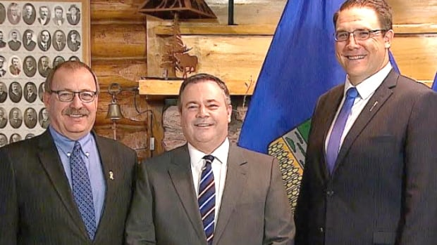 Former PC interim leader Ric McIver, left, has endorsed Jason Kenney, centre, as UCP leader, as has MLA Jason Nixon, who was a member of the Wildrose caucus.