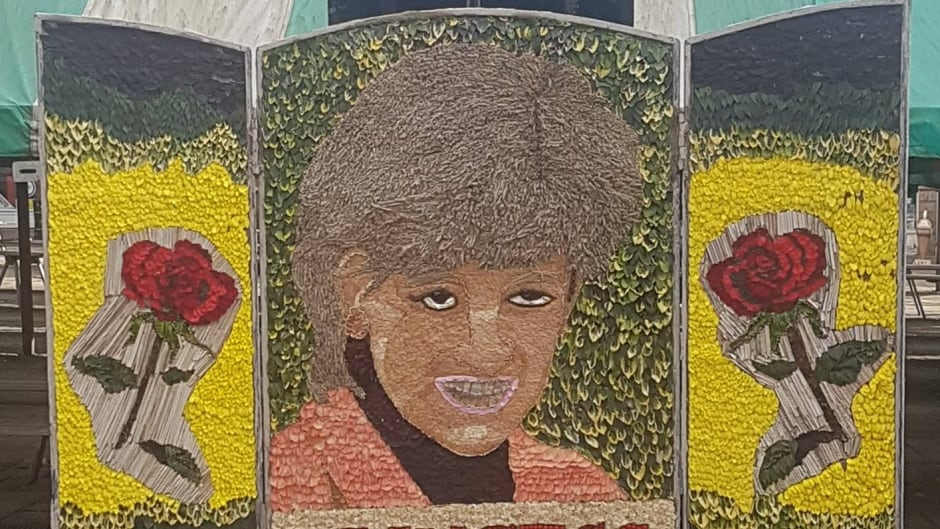 The Chesterfield Borough Council unveiled this floral 'well dressing' tribute to the late Princess Diana.