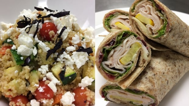 Two meals that Kent Van Dyk says are easy for children to make for their school lunches: couscous with vegetables (left) and cranberry turkey wraps (right).