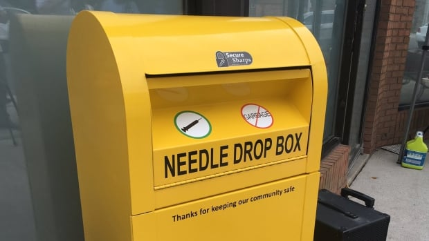 A needle disposal container located in downtown Windsor collected an estimated 500 used syringes in its first week.