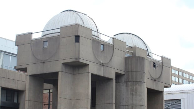 The domes housing two telescopes at York University's campus in Toronto. The 40-centimetre telescope will be replaced by a new 1-metre telescope next year.
