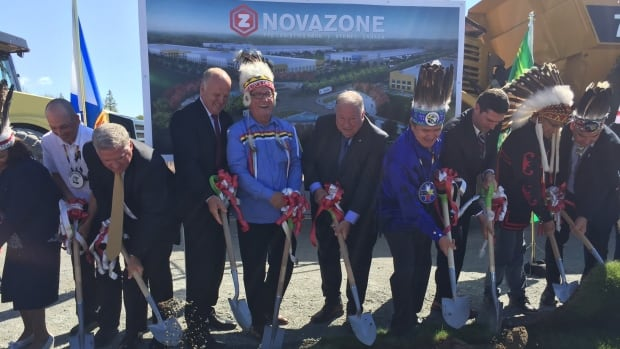 Officials gather to break ground for the Novazone logistics park outside Sydney.