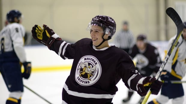 Jacob Schofield plays with the MacEwan Griffins. He'll suit up against the Edmonton Oilers rookies Wednesday night.