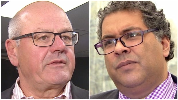 Mayor Naheed Nenshi, right­, says the City of Calgary offered to pay a third of the costs of a new arena, dividing the estimated $555-million tab with the Flames and arena users. But Flames' president Ken King, left, says the city's plan would add up to the Flames paying for the whole thing.