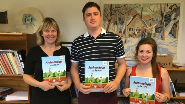 P.E.I.'s director of Aboriginal affairs and archeology Helen Kristmanson (far left) is pictured with illustrator Liam McKenna (centre) and archeologist Erin Mundy (far right).
