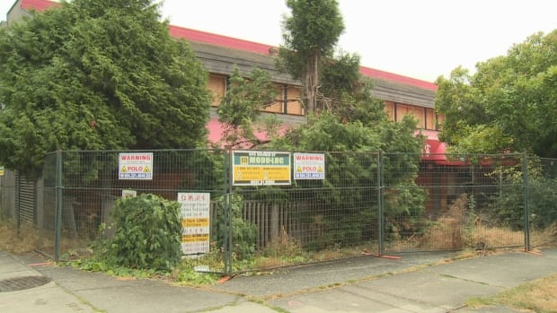 A boarded-up restaurant at the corner of Cambie Street and 59th Avenue was to be demolished in favour of the Langara West development.