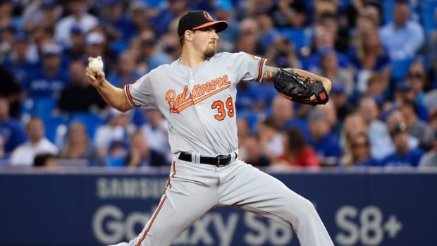 Baltimore Orioles starting pitcher Kevin Gausman works against the Toronto Blue Jays during the first inning of their game on Wednesday.