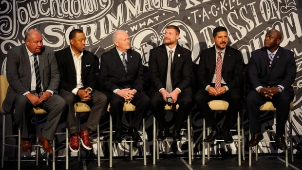 The Canadian Football Hall of Fame Class of 2017, from left to right, Brian Towriss, Geroy Simon, Stan Schwartz, Mike O'Shea, Anthony Calvillo and Kelvin Anderson.