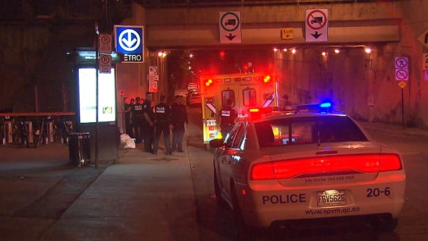 A security guard found two men passed out with syringes in their legs near Lucien-L'Allier Metro station in downtown Montreal Wednesday night.