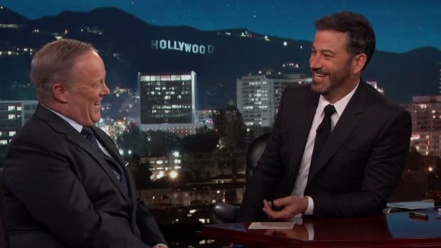 Sean Spicer was generally good-natured during a visit to ABC's Jimmy Kimmel Live on Wednesday.