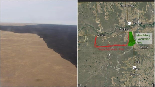 Suffield grass fire collage