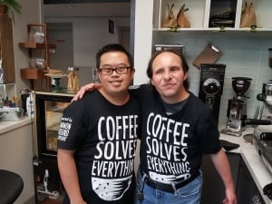 Paul and Alex at the Coffee Shed