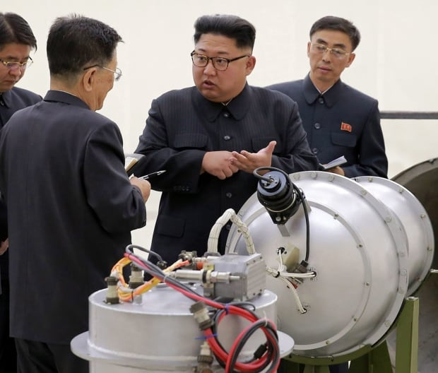 : Kim Jong Un inspects a nuclear device North Korea  claim is a hydrogen bomb.