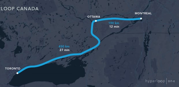 Hyperloop global challenge winning route Toronto Ottawa Montreal