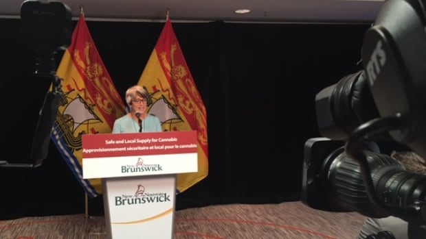 Finance Minister Cathy Rogers announces the creation of a new Crown corporation, this one to oversee marijuana sales in New Brunswick.