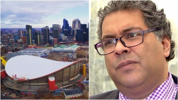 After Naheed Nenshi, right, won a third term as Calgary's mayor Monday night, the director of communications for the Calgary Flames tweeted that it was worse than Donald Trump's election as U.S. president. The Calgary Flames ownership recently broke off talks with the city over construction of a new arena to replace the aging Saddledome, left.