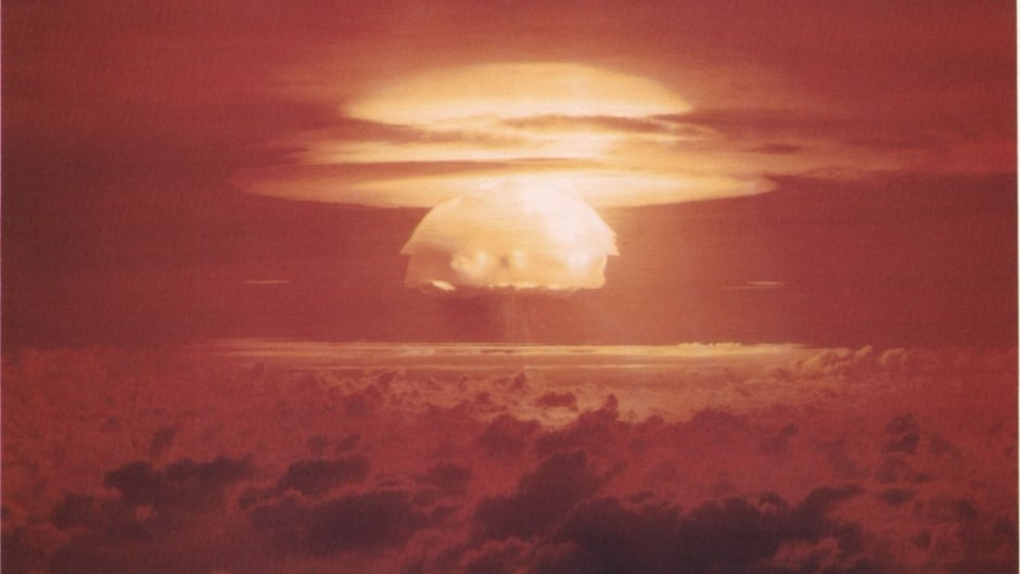 """The mushroom cloud from the US """"Castle Bravo"""" nuclear test in 1954.  A 15 megaton explosion was set off on Bikini Atoll in the Pacific."""