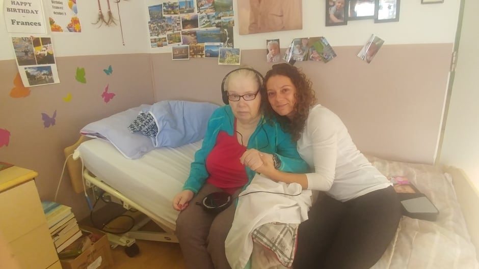 Naomi Mison and her mom at South Terrace Continuing Care Centre in Edmonton.