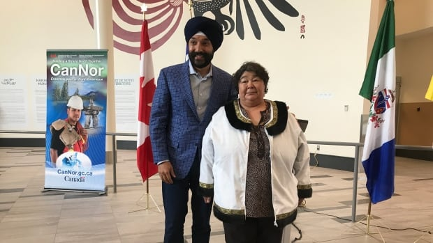 Navdeep Bains, Minister for Innovation, Science and Economic Development Canada with Monica Ell-Kanayuk, Nunavut's Economic Development and Transportation minister at the Iqaluit airport.