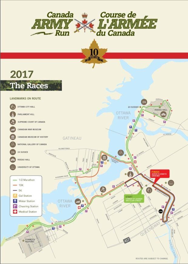 Canada Army Run road closures 2017