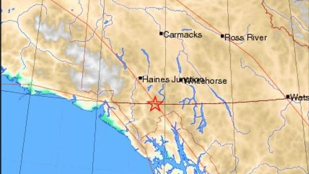 The 5.1-magnitude quake struck near the border between Yukon, B.C., and Alaska Saturday afternoon, Earthquakes Canada reports.