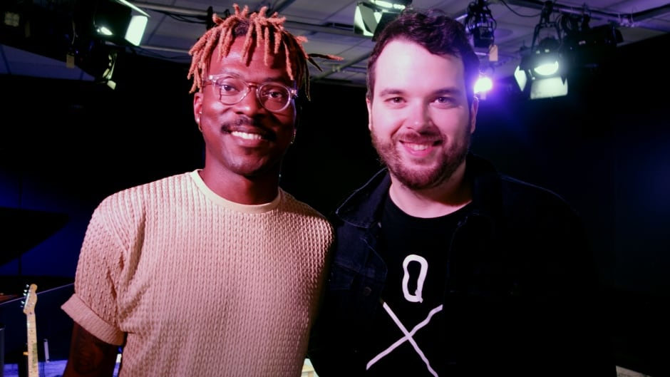 Musician Pierre Kwenders and Tom Power in the q studio in Toronto, Ont.