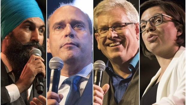 The NDP leadership contenders, from left to right: Ontario MPP Jagmeet Singh, Quebec MP Guy Caron, Ontario MP Charlie Angus, Manitoba MP Niki Ashton.