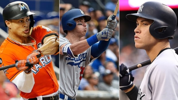 From left, the Marlins' Giancarlo Stanton and rookies Cody Bellinger of the Dodgers and Aaron Judge of the Yankees have been big contributors to the rise in home runs this season. There were 5,663 homers hit through Sunday, 30 shy of the major league record set in 2000.