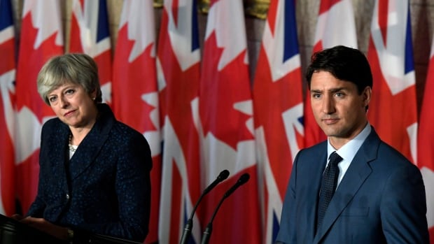 In their meeting on Parliament Hill Monday, Prime Minister Justin Trudeau, right, and British Prime Minister Theresa May discussed Boeing's trade complaint against Montreal-based Bombardier, which is a major employer in Northern Ireland.