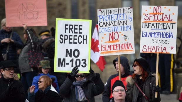 The Liberal anti-Islamophobia motion, M-103, sparked protests about free speech, Shariah law and religious freedoms.
