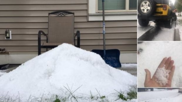 Brad Girard and his wife, Elisa Crowe, were at their home on Burke Mountain when the hail started pelting it. Girard quickly took to Twitter, posting these photos.