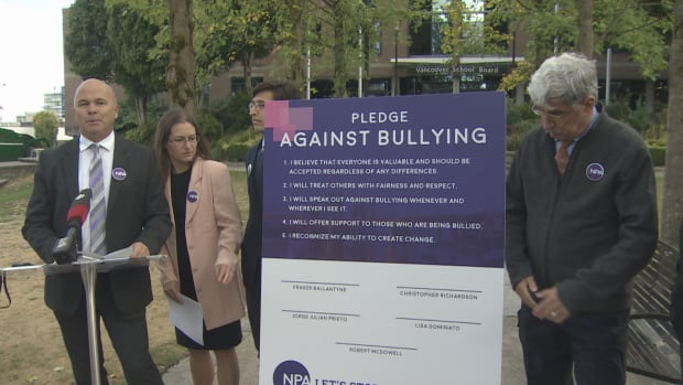 School board candidates with Vancouver's Non-Partisan Association speak to the media at a news conference on Sept. 18, 2017.