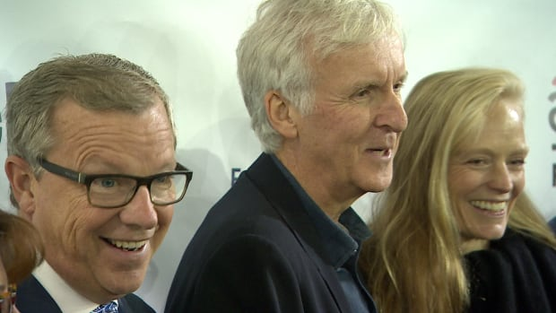 Saskatchewan Premier Brad Wall with James Cameron and Suzy Amis Cameron at the launch of the new plant in Vanscoy, Sask.