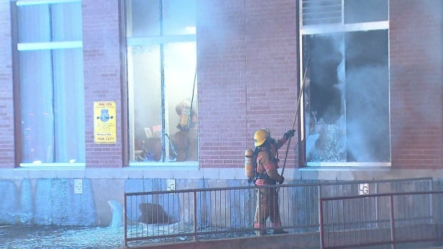 Firefighters were called to Location Prime Leasing on Côte-de-Liesse Road just before 3 a.m. Tuesday. The investigation into the fire was turned over to the police arson squad after traces of accelerant were found inside the building.