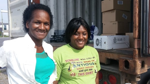 Juleen Barrington, right, president of the Antigua and Barbuda Association of Montreal, with her mother Kathleen James. Barrington wants to fill a shipping container with packaged food, toiletries and building materials to send to hurricane-ravaged Barbuda.