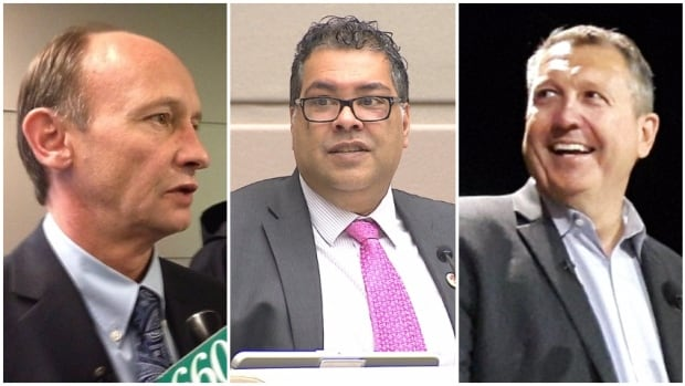 Bill Smith, right, is in the lead against incumbent Naheed Nenshi, centre and longtime councillor Andre Chabot, left, in the race for mayor, according to a new poll.